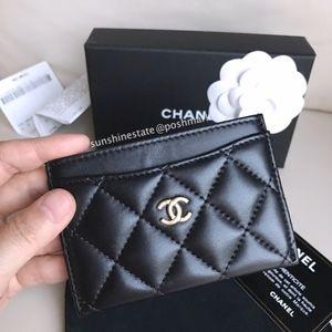 Chanel CC Card holder Black Gold Hardware